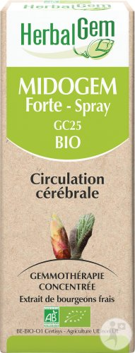 Herbalgem Midogem Forte GC25 Complexe Circulation Cérébrale Bio Spray 10ml