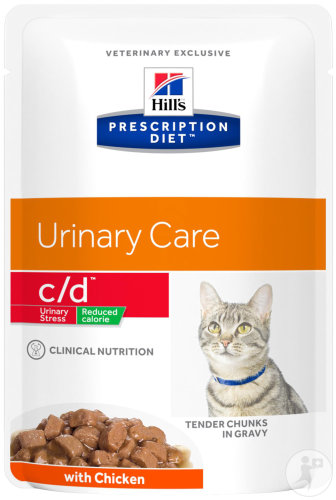 Hill's Pet Nutrition Prescription Diet Urinary Stress C/D Reduced Calorie Feline Au Poulet 12x85g