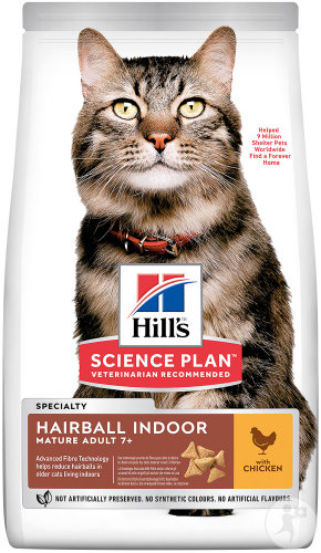 Hill's Pet Nutrition Science Plan Hairball Indoor Feline Mature Adult 7+ Chicken Sachet 1,5kg