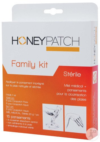 Honeypatch Family Kit 15 Pansements Stérile + Tube Avec Miel Médical 20g