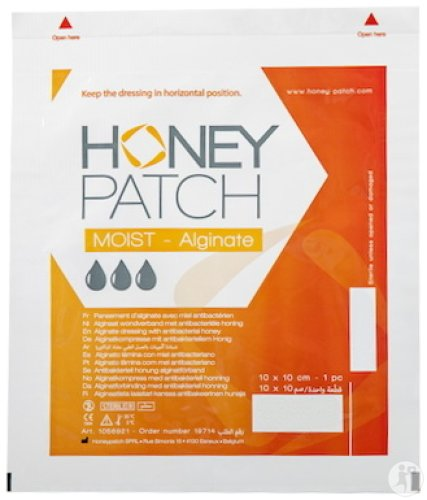 Honeypatch Moist-Alginate Pansement D'Alginate Avec Miel Antibactérien 10x10cm Pièce 1 (1058921)