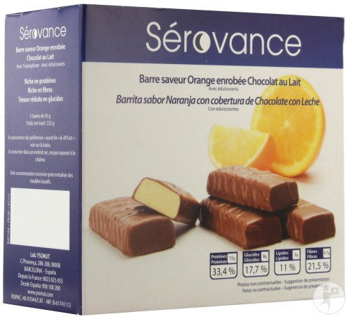 Inovance Sérovance Barre Chocolat Lait - Orange 5 Barres