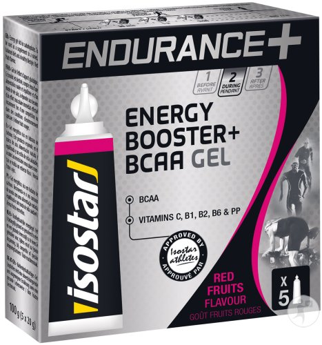 Isostar Gel Long Distance Energy + B.C.A.A Red Fruits 5x20g
