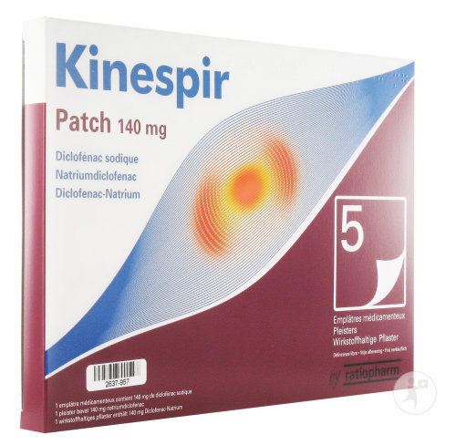 Kinespir Patch 140mg Diclofen. Sodique 5 Emplâtres