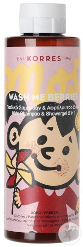 Korres KB Wash Me Berries Shampoing Et Gel Douche 2en1 Enfants Flacon 250ml