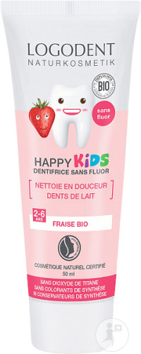 Logona Logodent Happy Kids Gel Dentaire Arôme Fraise Tube 50ml