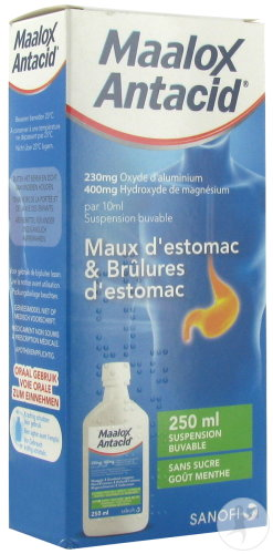 Maalox Antacid 230mg/400mg/10ml Maux D'Estomac Et Brûlures D'Estomac Suspension Buvable Flacon 250ml