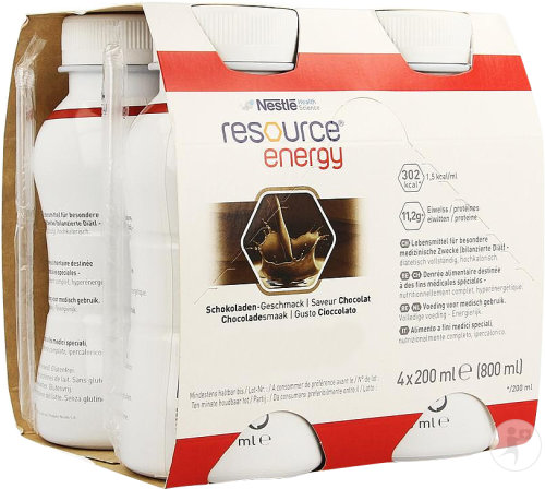 Nestlé Resource Energy Chocolat Bouteilles 4x200ml