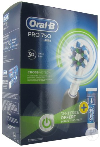 Oral B Crossaction 750+ Gratuit 1 Dentifrice Nettoyage Intense