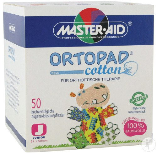 Ortopad Cotton Junior Boys Pansement Oculaire 50 Pièces (70171)