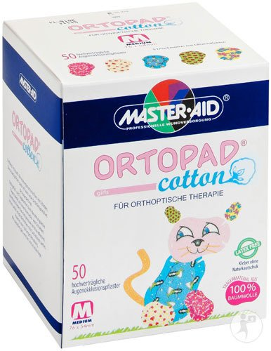 Ortopad Cotton Medium Girls Pansement Oculaire 50 Pièces (70162)