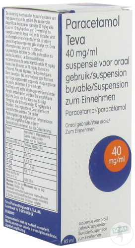 Paracétamol Teva 40mg/ml Douleur Et Fièvre Suspension Buvable Flacon 85ml