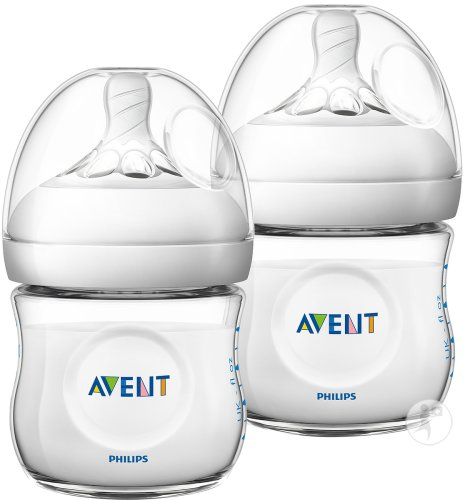 Philips Avent Natural 2.0 Biberons Transparents 125ml 2 Pièces