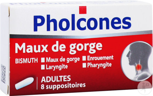 Pholcones Bismuth Adultes Maux De Gorge 8 Suppositoires