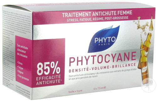 Phyto Phytocyane Traitement Anti-Perte Cheveux Femme 12 Ampoules