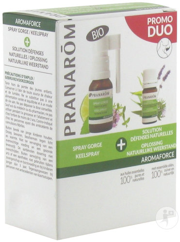 Pranarôm Aromaforce Duo Spray Gorge 15ml + Solution Défenses Naturelles 5ml Promo