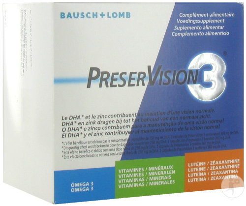 PreserVision 3 Complément Alimentaire Vision Normale 180 Capsules