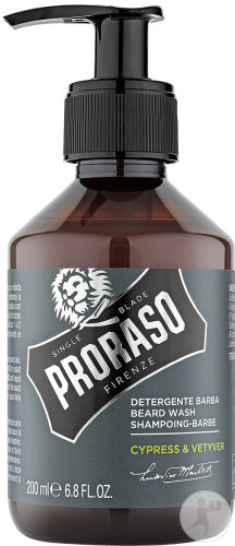 Proraso Cypress And Vetyver Shampoing Barbe Flacon Pompe 200ml