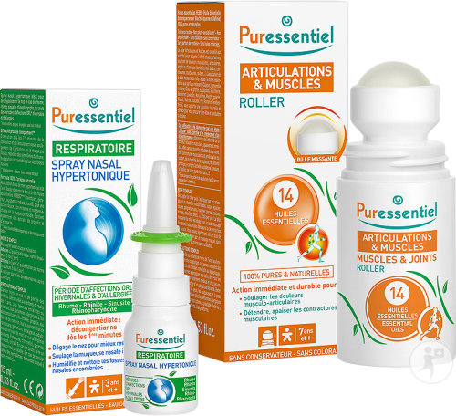 Puressentiel Coffret Respiratoire Spray Nasal Hypertonique Flacon 15ml + Articulations & Muscles Rol