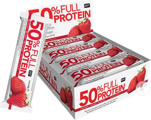 QNT 50% Full Protein Fraise Barres 12x50g
