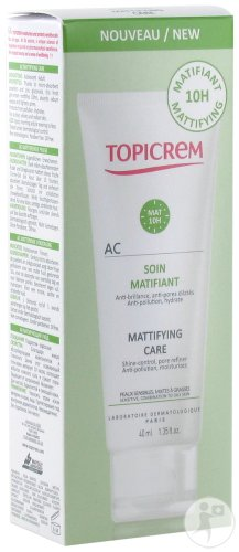 Topicrem AC Soin Matifiant Peaux Sensibles Mixtes À Grasses Tube 40ml