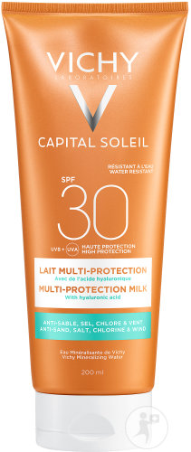 Vichy Capital Soleil Beach Protect Lait Multi-Protection Sable Sel Chlore Vent IP30 Tous Peaux 200ml