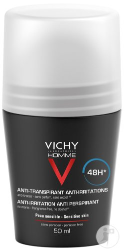 Vichy Homme Déodorant Anti-Transpirant Anti-Irritations Peaux Sensibles Roll-On 50ml