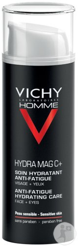 Vichy Homme Hydra Mag C+ Soin Hydratant Anti-Fatigue Peau Sensible Flacon Pompe 50ml