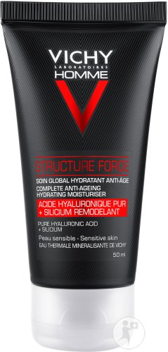 Vichy Homme Structure Force Soin Global Hydratant Anti-Âge Peau Sensible Tube 50ml