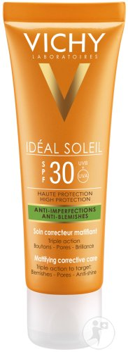 Vichy Idéal Soleil Soin Correcteur Matifiant Anti-Imperfections IP30 Tube 50ml