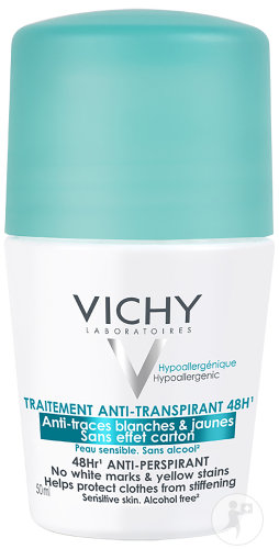 Vichy Traitement Anti-Transpirant 48h Anti-Traces Blanches Et Jaunes Roll-On 50ml