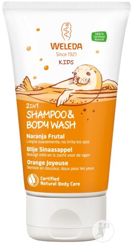 Weleda Kids 2en1 Shampoing & Body Wash Orange Fruitée Tube 150ml