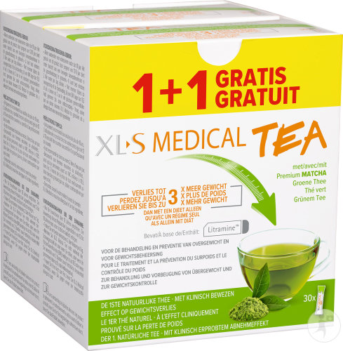 XLS Medical Tea Thé Vert Avec Premium Matcha 30 Sticks Promo 1+1 Gratuit