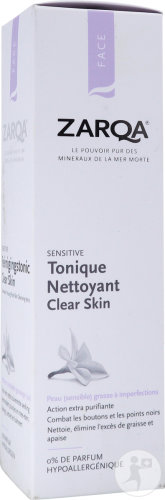 Zarqa Sensitive Tonique Nettoyant Clear Skin Peaux Grasses À Imperfections 200ml