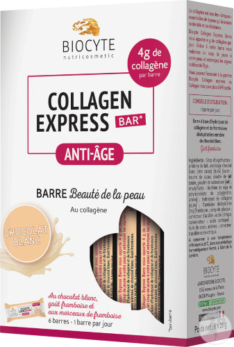 Biocyte Nutricosmetic Collagen Express Anti-Age Mooie Huid Reep Witte Chocolade 6x25g