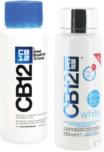 CB12 Mondspoeling 12u Regular 250ml + Gratis CB12 White Mondwater Fl 250ml
