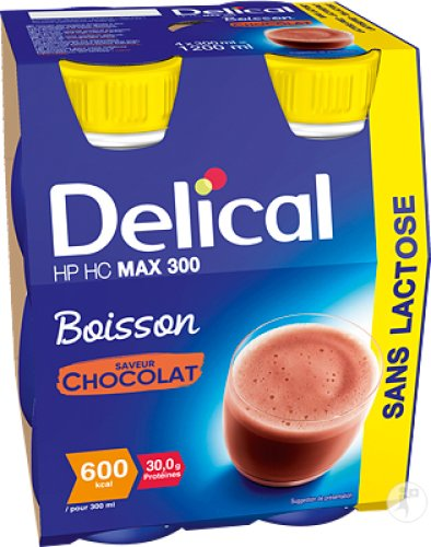 Delical HP HC MAX 300 Drank Zonder Lactose Chocolade Smaak Flesjes 4x300ml