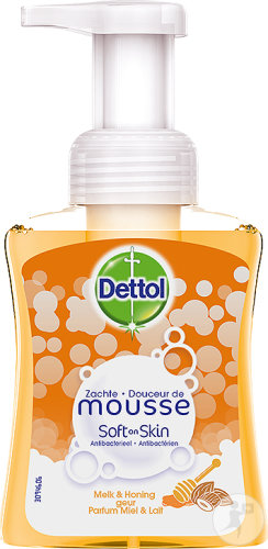 Dettol Soft On Skin Hard On Dirt Antibacterieel Zachte Mousse Honing En Melk Pomp-Flacon 250ml