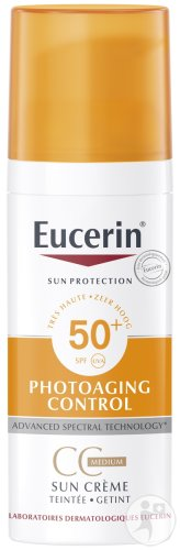 Eucerin Sun Protection Photoaging Control Crème Getint CC Medium SPF50+ Gevoelige Huid 50ml