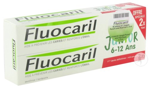 Fluocaril Junior Rood Fruit Duo 2x75ml Promo -1