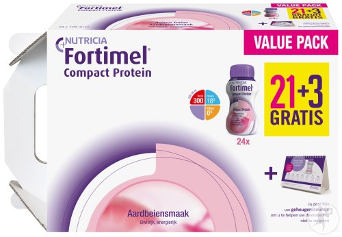 Fortimel Compact Protein Aardbei 24x125ml Promo 21+3 Gratis