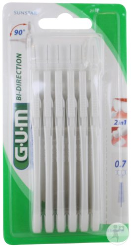 Gum Bi-Direction Interdentaal Borsteltje 0,7mm Ultra Microfine 6 Stuks