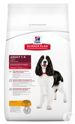 Hill's Pet Nutrition Science Plan Canine Adult Advanced Fitness Medium Met Kip 12kg