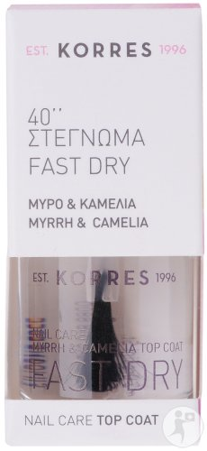 Korres KM Myrrh & Camelia Nail Care Top Coat Fast Dry 40 Seconds 10ml