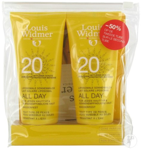 Louis Widmer All Day SPF20 Zonder Parfum Tube 2x100ml