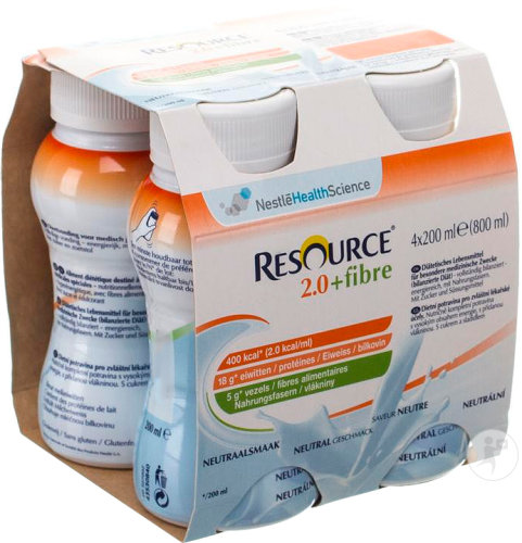 Nestlé Resource 2.0 + Fibre Neutraal Flesjes 4x200ml (12100792)