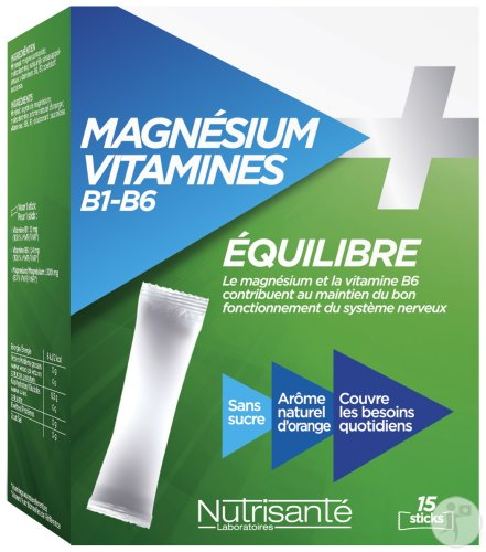 Nutrisanté Evenwicht Magnesium Vitaminen B1 B6 15 Sticks
