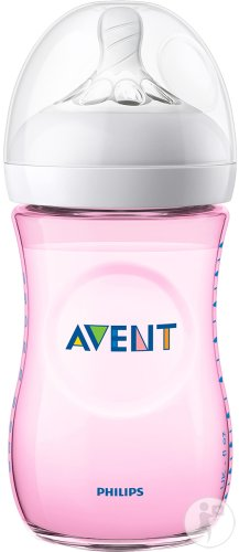 Philips Avent Natural Zuigfles 260ml Roze - SCF034/17 (1m+) - 1x