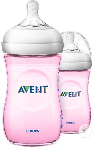 Philips Avent Natural Zuigfles 260ml Roze DUO - SCF034/27 (1m+) - 2x