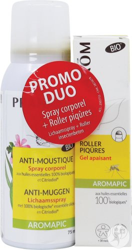 Pranarôm Aromapic Pack Anti-Muggen Lichaamspray Bio 75ml + Roller Insectenbeten Gel Bio 15ml
